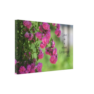 Roses with Love Quote Canvas Print