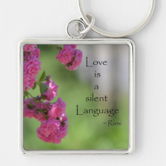 Roses with Love Quote Keychain