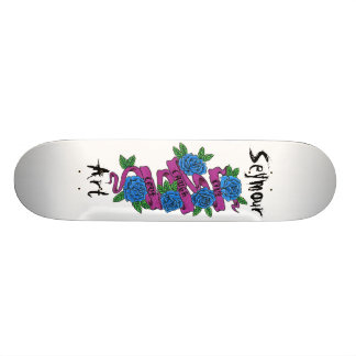 roses with scroll.. live, laugh, love skateboard deck