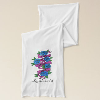 roses with scrolls..live, laugh, love scarf