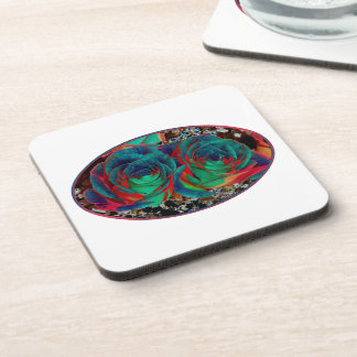 Roses with Solarized Special Effect Drink Coaster