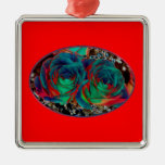 Roses with Solarized Special Effect Christmas Tree Ornament