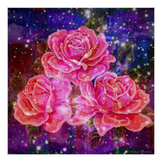 Roses with Sparkles Poster