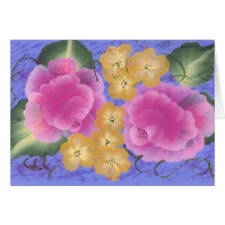 Roses with Yellow Spring Blossoms Card