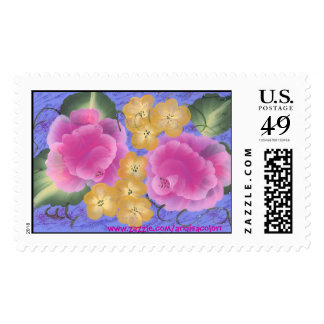 Roses with Yellow Spring Blossoms Stamp