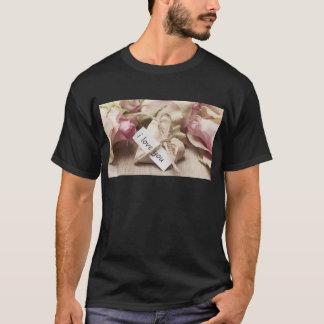 Roses Wooden Heart Heart Heart Shaped Love Mother T-Shirt