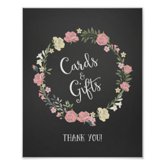 Roses Wreath Cards and Gifts Wedding Poster Print