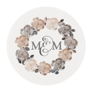 Roses Wreath Monogram Wedding Edible Cake Toppers Edible Frosting Rounds