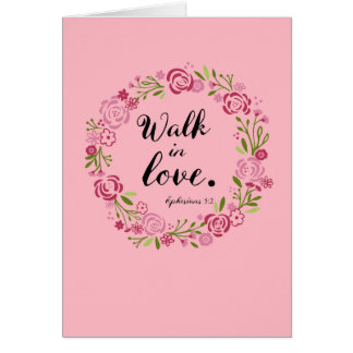 Roses Wreath Walk in Love Floral Card