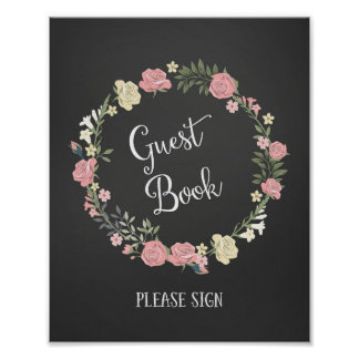 Roses Wreath Wedding Guest Book Poster Print
