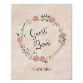 Roses Wreath Wedding Guest Book Sign Poster Print