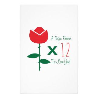 Roses X 12 Custom Stationery