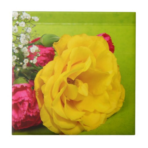 Roses yellow beautiful flowers photo, gift small square tile