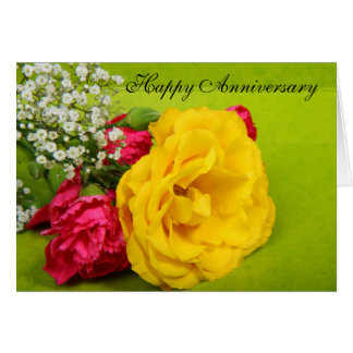 Roses yellow flowers beautiful anniversary card