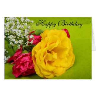 Roses yellow flowers beautiful photo birthday card