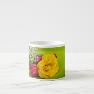 Roses yellow, red flowers beautiful photo, gift espresso cup