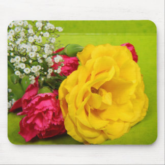 Roses yellow red flowers beautiful photo gift mouse pad