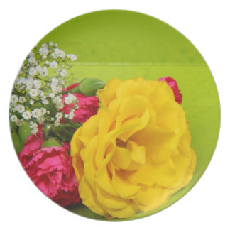Roses yellow red flowers beautiful photo gift plates