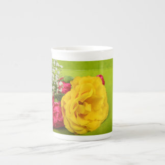 Roses yellow, red flowers beautiful photo, gift tea cup
