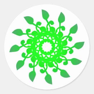 Roseta rose verde green pegatina redonda