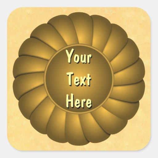 Rosetón amarillo de la cinta a personalizar calcomanía cuadrada personalizada