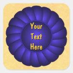 Rosetón de Blue Ribbon a personalizar Calcomania Cuadrada Personalizada