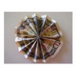 Rosetón de Origami del dinero Tarjeta Postal