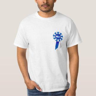 Rosetón en camiseta adulta azul y del blanco de remeras