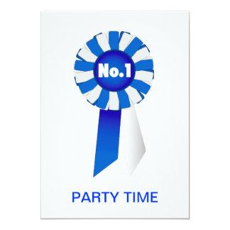 """Rosetón en tiempo azul y del blanco de no. 1 del invitación 5"""" x 7"""""""