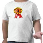 rosetón rojo/amarillo del 4to cumpleaños camiseta