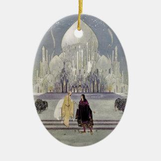 Rosetón y príncipe Charmant Adorno Navideño Ovalado De Cerámica
