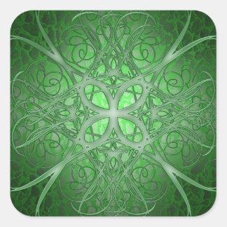 Rosetta verde pegatina cuadrada