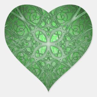 Rosetta verde pegatina en forma de corazón