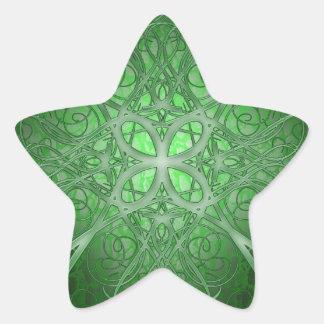 Rosetta verde pegatina en forma de estrella