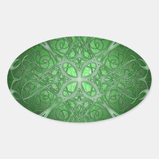 Rosetta verde pegatina ovalada