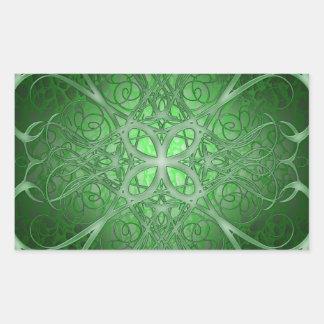 Rosetta verde pegatina rectangular