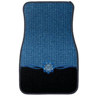 Rosette and Weave Blue Car Floor Mat