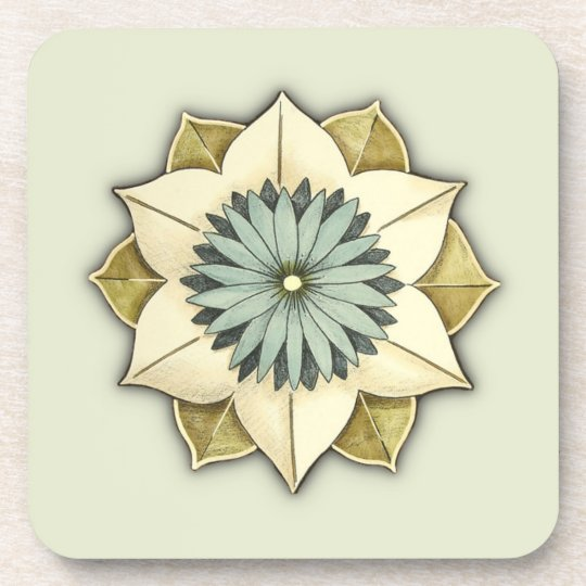 Rosette Botanical Flower in Soft Green and Blue Drink Coaster