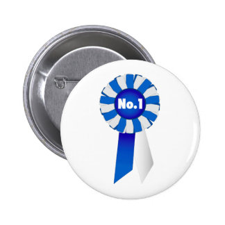 Rosette in Blue and White No. 1 Button Badge