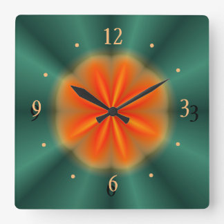 Rosette in Red/Orange With Green> Kitchen Clock
