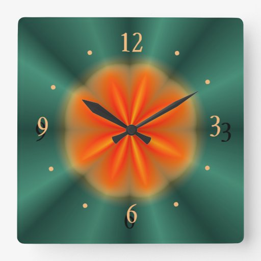 Red And Green Kitchen: Rosette In Red/Orange With Green> Kitchen Clock