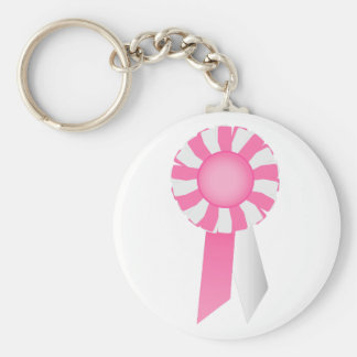 Rosettes  in Pink  and White  Key Chain
