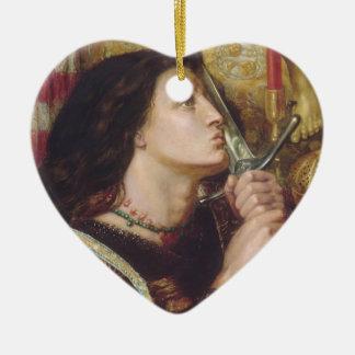 Rosetti: Joan of Arc Kisses the Sword, Double-Sided Heart Ceramic Christmas Ornament