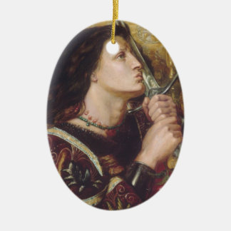Rosetti: Joan of Arc Kisses the Sword, Double-Sided Oval Ceramic Christmas Ornament