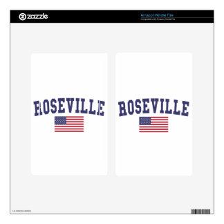 Roseville CA US Flag Kindle Fire Skin