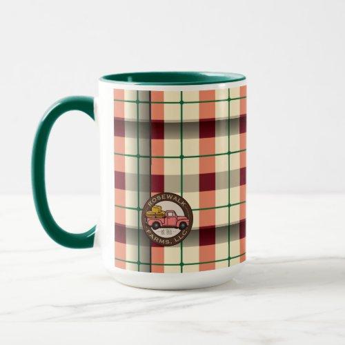 Rosewalk Farms plaid mug