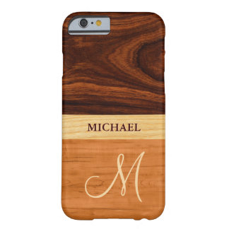 Rosewood Oak Mixed Wood Grain Look - Monogrammed Barely There iPhone 6 Case