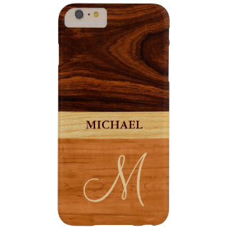 Rosewood Oak Mixed Wood Grain Look - Monogrammed Barely There iPhone 6 Plus Case