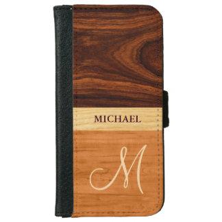 Rosewood Oak Mixed Wood Grain Look - Monogrammed iPhone 6 Wallet Case
