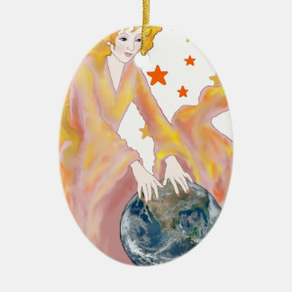 Rosey Dawn Double-Sided Oval Ceramic Christmas Ornament